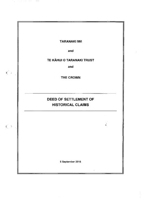Taranaki Iwi Deed of Settlement