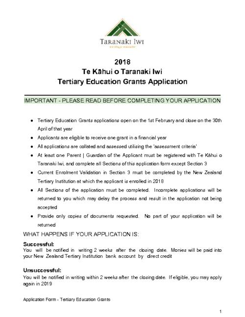 Education Grant – Tertiary