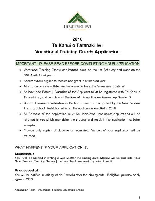Education Grant – Vocational Training