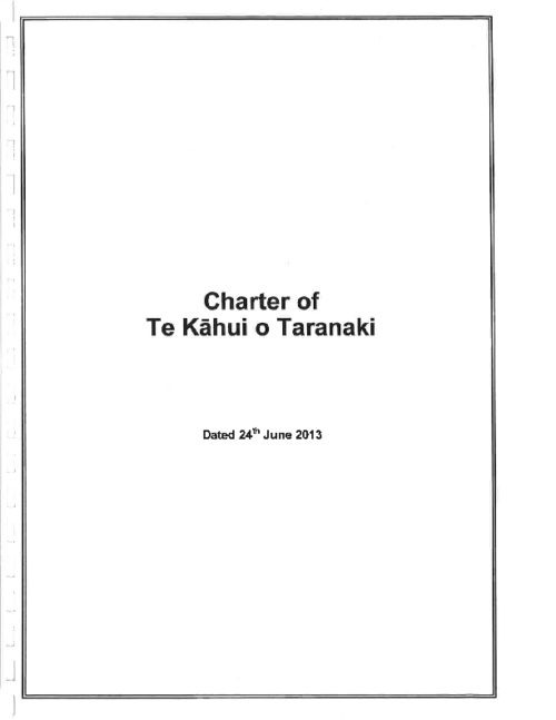 Charter of Te Kāhui o Taranaki – 24 June 2013