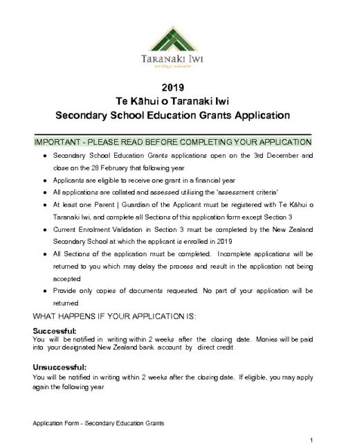 Education Grant – Secondary School (2019)
