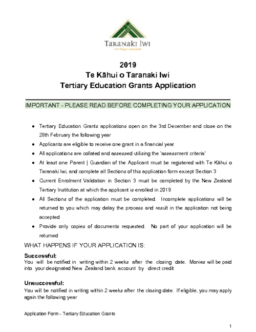 Education Grant – Tertiary (2019)