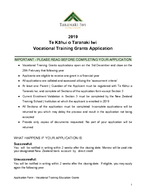 Education Grant – Vocational Training (2019)