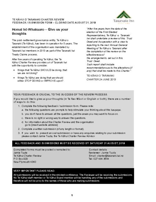 Te Kāhui Charter Feedback Submission Form
