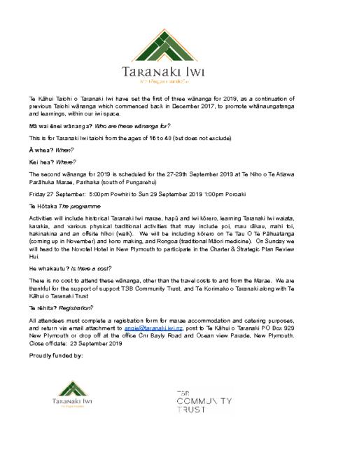 Te Kahui Taiohi o Taranaki – Registration Pack