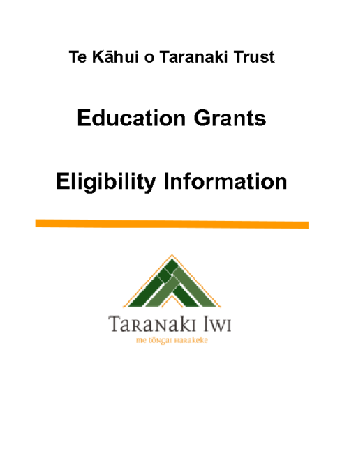 TKoT Education Grants Eligibility Information