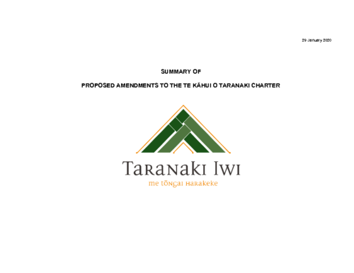 Taranaki Iwi Charter – Proposed Ammendments Summary Booklets FInal 22 February 2020